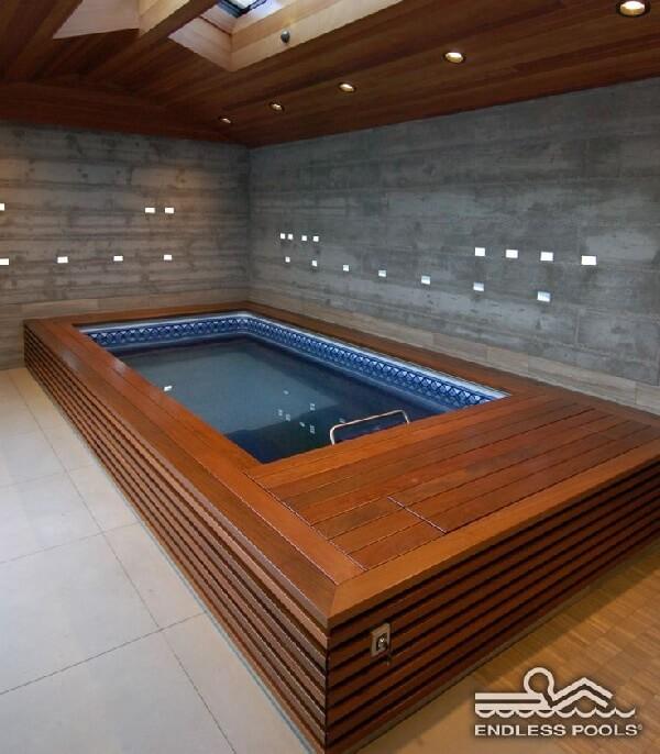 ahşap kaplama Endless Pool Havuz villa içi uygulama