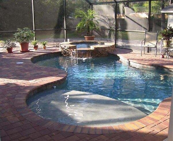 kış bahçesi içi taş kaplama küçük havuz modeli