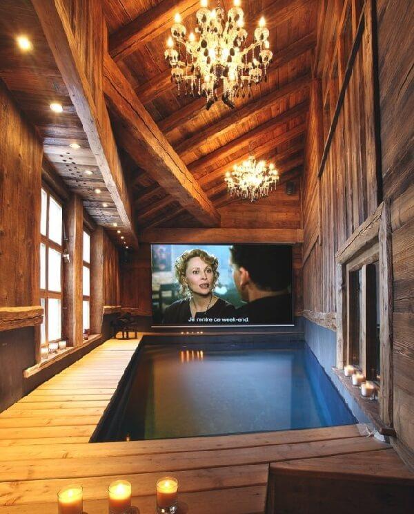 modern ahşap villalar içi egzotik kapalı havuz