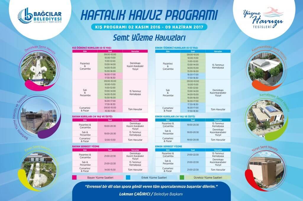 Bağcılar Belediyesi Semt Yüzme Havuzları Haftalık Seans Programı